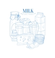 Milk And Dairy Products Hand Drawn Realistic vector image vector image