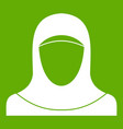 muslim women wearing hijab icon green vector image vector image