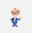 old businessman with glasses showing something in vector image vector image