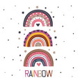poster with three beautiful rainbows vector image vector image