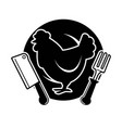poultry meat shop emblem with cock and cutlery vector image vector image