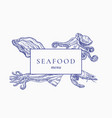 premium quality seafood menu abstract sign vector image vector image