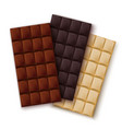 realistic detailed 3d chocolate set vector image