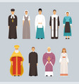 religion people characters set men and women of vector image vector image