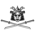 samurai mask and two crossed katana swords vector image vector image