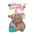 santa claus bag with gifts christmas card vector image