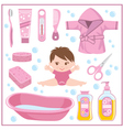 Set of children things for bathing vector image vector image