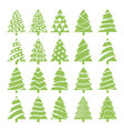 set of green christmas trees vector image
