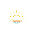 summer vacation logo sun with sea wave lettering vector image
