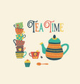 tea time hand drawn retro vector image