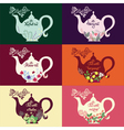 Teapot set of six design options vector image