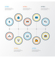 trade icons colored line set with email employee vector image vector image