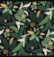 tropical lush garden leaf bed seamless patt vector image