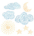 watercolor set with sky clouds stars vector image