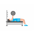 woman pumping up muscles on bench press vector image vector image