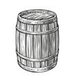 wooden barrel sketch vintage cask for wine and vector image