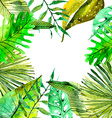 Watercolor Floral background with Tropical leaves vector image