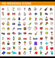 100 wedding icons set cartoon style vector image vector image