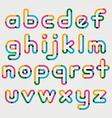 Alphabet line transparent color font style vector image