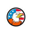 American Bald Eagle Head Angry Flag Circle Cartoon vector image vector image
