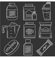 Athlete diet white line icons vector image vector image