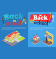 back to school posters with isometric vector image vector image