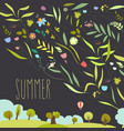 blooming flowers with summer landscape vector image