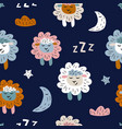 childish seamless pattern with cute sheeps vector image