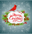 christmas banner with red cardinal bird vector image vector image