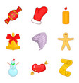 christmassy icons set cartoon style vector image vector image