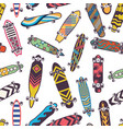 colored seamless pattern with various skateboards vector image
