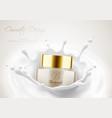 cream jar for beauty skin in milk splash vector image vector image