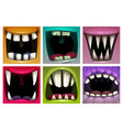 creppy fantasy monsters mouth set scary vector image vector image