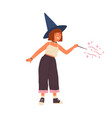 cute girl wearing witch hat conjuring with magic vector image vector image