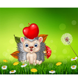 Cute little hedgehog in the beautiful grass vector image vector image