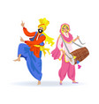dancing sikh couple man in turban girl with drum vector image