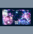 disco time banner website design vector image