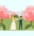 female male lovely couple wedding celebration vector image vector image