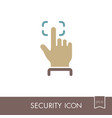 fingerprint scanning line icon vector image vector image