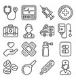first medical aid icons set on white background vector image