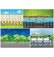 four scenes with road and river vector image vector image