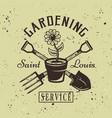 gardening service emblem with flower pot vector image