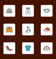 garment icons colored line set with underpants vector image