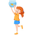 Girl and goldfish in the tank vector image vector image
