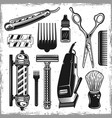 hairdressers tools and barbershop vintage elements vector image