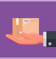hand postman holds delivered parcel vector image vector image