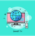 hybrid or smart tv displaying content from website vector image vector image