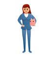 insurance agent piggy bank icon cartoon style