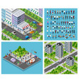isometric set 3d city three-dimensional summer vector image