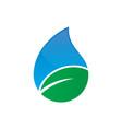 leaf waterdrop nature logo vector image vector image
